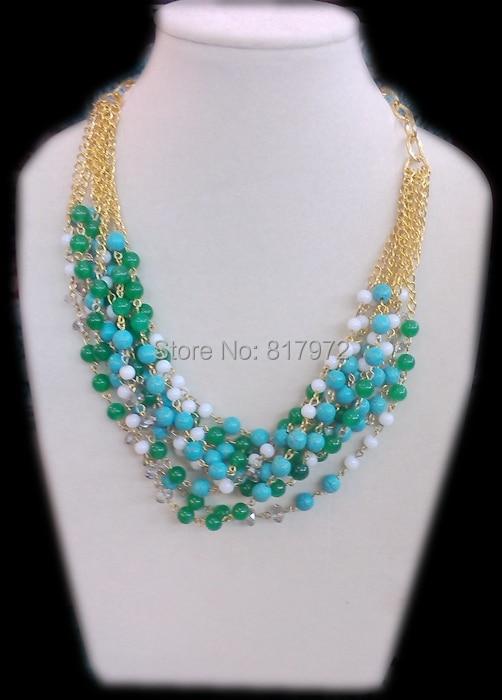 Femme bijoux a la mode or couleur chaîne 9 rangées collier multicouche collier vert clair perle howlite pierre mixte