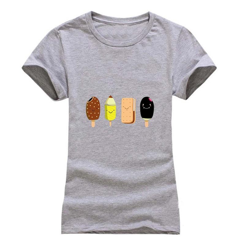 T-shirt női Divat nyári színes Popsicle nyomtatás rövid ujjú pólók kényelmes márka pamut női pólók