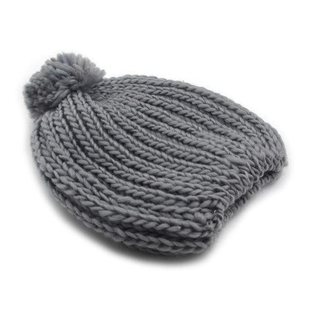 00a6060ed1e Beanie for women pom pom hat winter knit stretchy bobble hat fuchsia grey  light pink