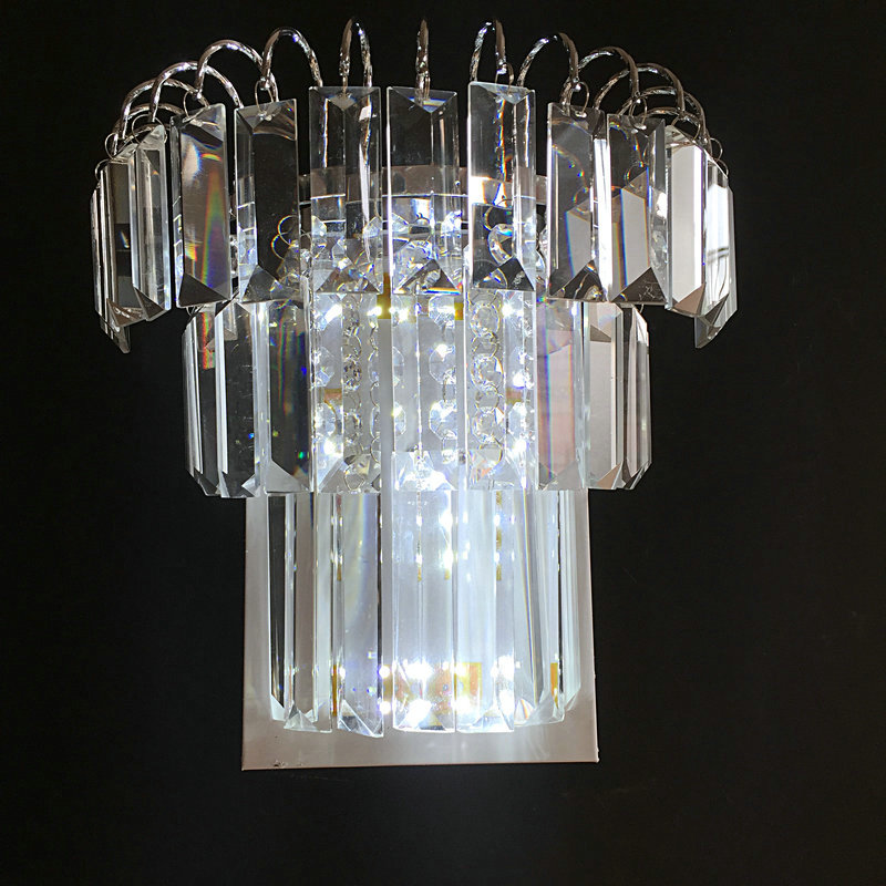 Modern LED k9 crystal wall lamp bed room  living room lighting fixture free shipping
