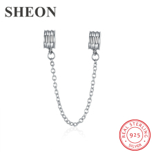 SHEON 925 Sterling Silver Luxury Safety Chain Charms Fit Authentic Pandora Bracelet DIY Jewelry Accessories New Arrival