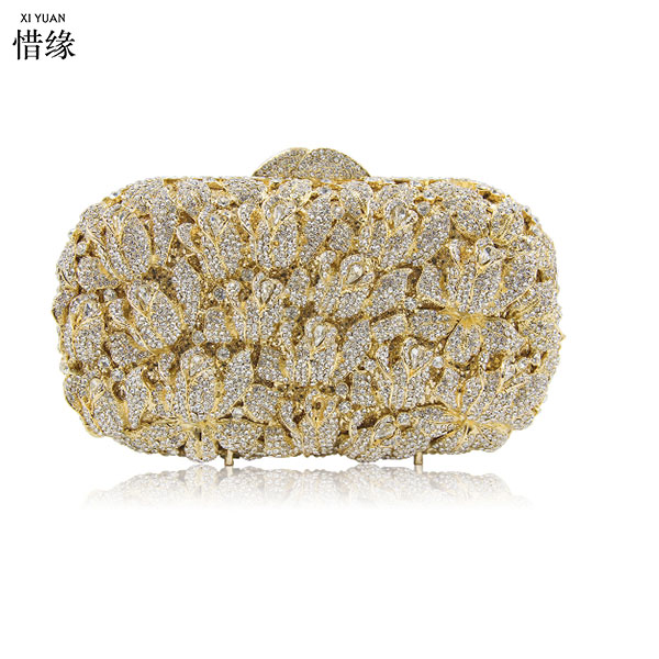 Gold Plating leaf Evening bag Wedding Prom party Box Clutch Handbag Purse Metal Hard Case Clutches Bag gold/silver/champagne
