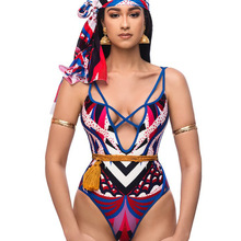 022015f71c7 Ethnic Style Sexy V Neck Bandage One Piece Swimsuit Women Swimwear Cut Out Monokini  Bathing Suit