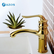 AZOS Bathroom Sink Faucet Brass Golden Color Single Hole Deck Mount Hot Cold Mixer Toilet Basin