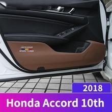 Искусственная кожа автомобиля внутренняя дверь анти Kick Pad Co-pilot коробка для хранения коврик защита наклейки Накладка для Honda Accord 10th 2018 аксессуары