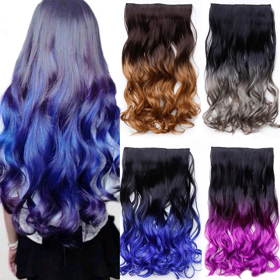 24inch Straight Hair Extentions Clip In On Hair Extension  Black To Red Ombre Hairpiece Synthetic 5 Clips Ins DIFEI
