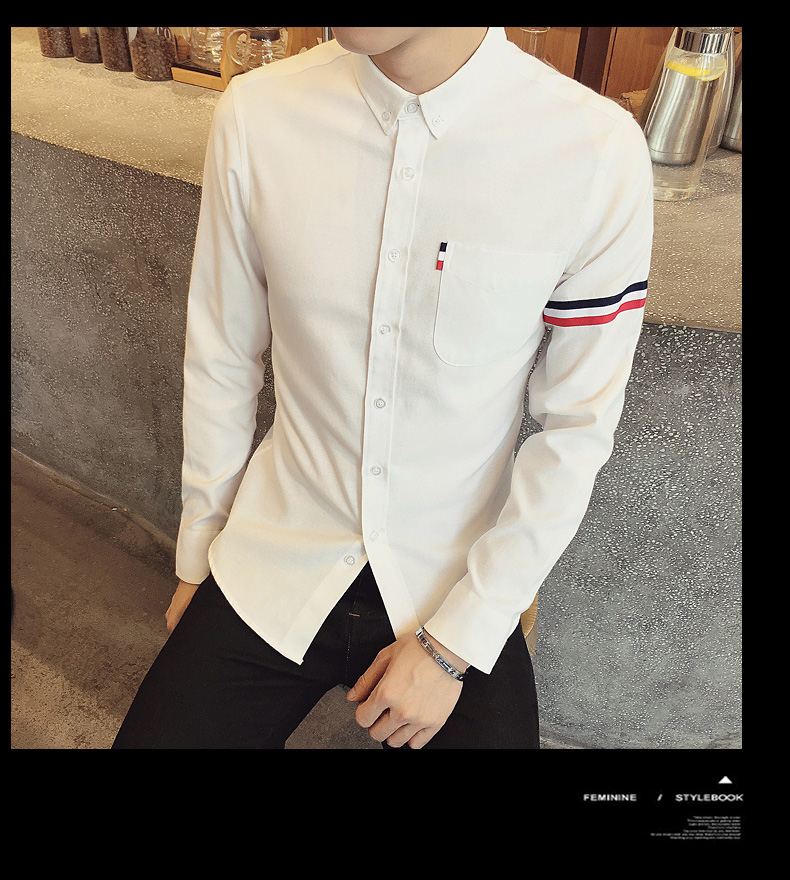 2017 New autumn men's casual tops brand shirt striped Strip decorate cotton men fashion solid color long sleeved Shirts M-XXXL 66