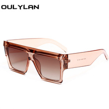 Oulylan Square Flat Top Sunglasses Women Fashion Clear Pink