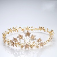 Jonnafe Vintage Gold Floral Bridal Round Crown Wedding Tiara Hairband Handmade Women Prom Hair Accessories Headpiece