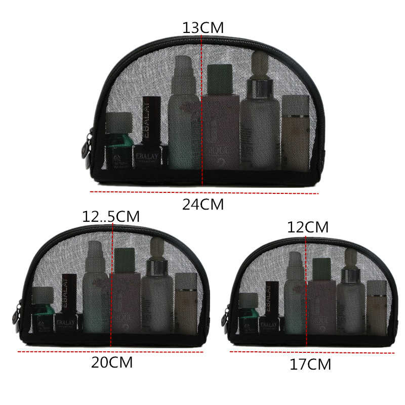 3af19dcf5e74 ... PURPORED 1 pc Black Mesh Cosmetic Bag 3 Sizes Hollow Mesh Travel Make  Up Bag Solid