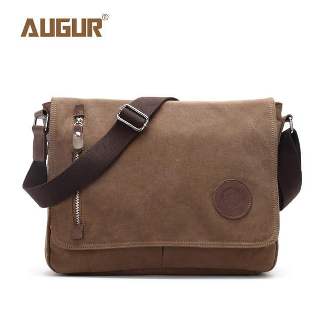 Augur 2018 Canvas Leather Crossbody Bag Men Military Army Vintage Messenger Bags Shoulder Casual Travel