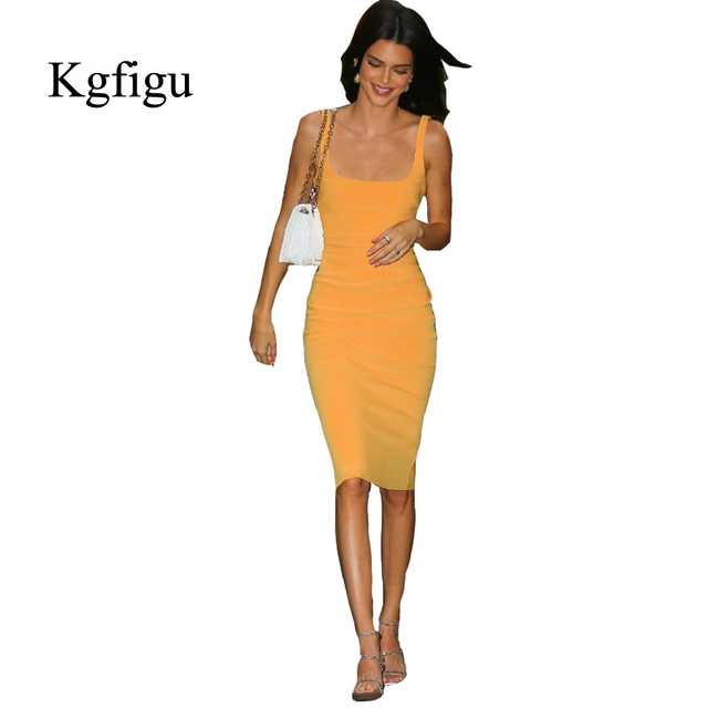 KGFIGU Kendall jenner Yellow bodycon dress 2019 Summer sleeveless skinny ropa mujer knee length vestidos High quality 2