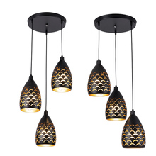 Modern Restaurant Led chandeliers lights  iron hollow Retro Industrial cystal Cafe Bar Home Decor Fixture