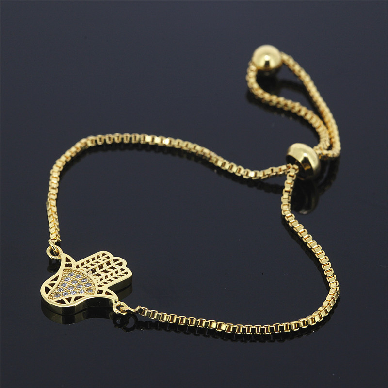 16cafed381e8 1 unids nuevo estilo simple oro cuentas de cobre hombres pulsera Pave  rhinestones CZ HAMSA mano encantos mujeres pulsera ajustable mejor regalo
