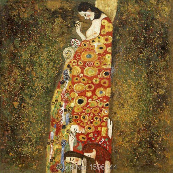 Zz1597 Wall Art Decoration Painting Gustav Klimt Big Tree: Oil Painting Hand Painted Gustav Klimt Woman Hope Picture