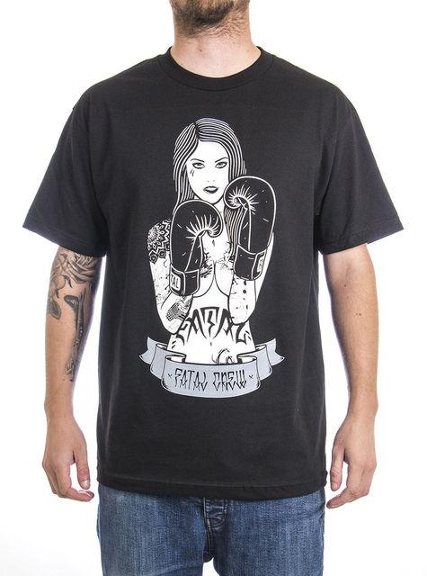 5074682c Fatal Clothing Ring Girl Men's Black Short Sleeve Tattooed Pinup Girl T- shirt Cheap Sale 100 % Cotton T Shirts For Boys