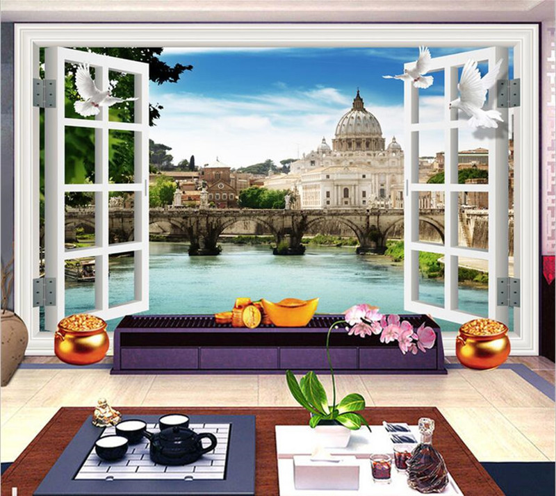Custom 3D Stereo Wallpaper Murals Window Outside  European Scenery Living Room TV Wall Decoration Painting papel de parede 3d european 3d wallpaper moroccan style wall stickers waterproof kitchen toilet decoration classical pattern living room murals