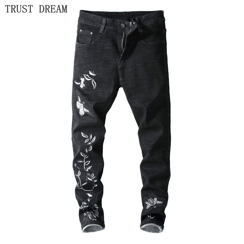 Men's Fashion Embroidery Slim Jeans Butterfly Flower Black Solid Pant Euro Style Vintage Man Casual Amazing High Quality Jean