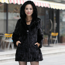 Female Real Natural Mink Fur Coat With Hood Medium-long Outerwear Fashion Luxury Women Silm Parka Jackets Overcoat For Winter