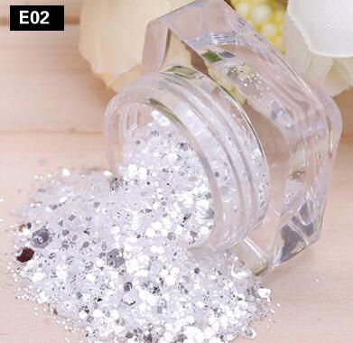 Nail Art Chunky *IcE* Silver White Hexagon Glitter Powder Mix Pot Tip Decoration