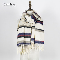 jzhifiyer YX154 bufandas 2017 mens winter fringe long scarf color-stripe shawls scarf unisex wraps scarf hijabs shawls and wraps