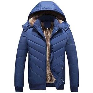 Image 3 - Winter Men Jacket Parka Warm Fleece Casual Hooded Coat Mens Cotton Slim Thick Down Jacket Male Zipper Outwears Casacos Masculino