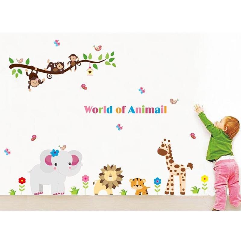 World of Animal Monkey Lion Elephant Giraffe Zoo Wall Sticker Vinyl Art Kids Room Mural DIY Mobile Baby Bedroom Sticker