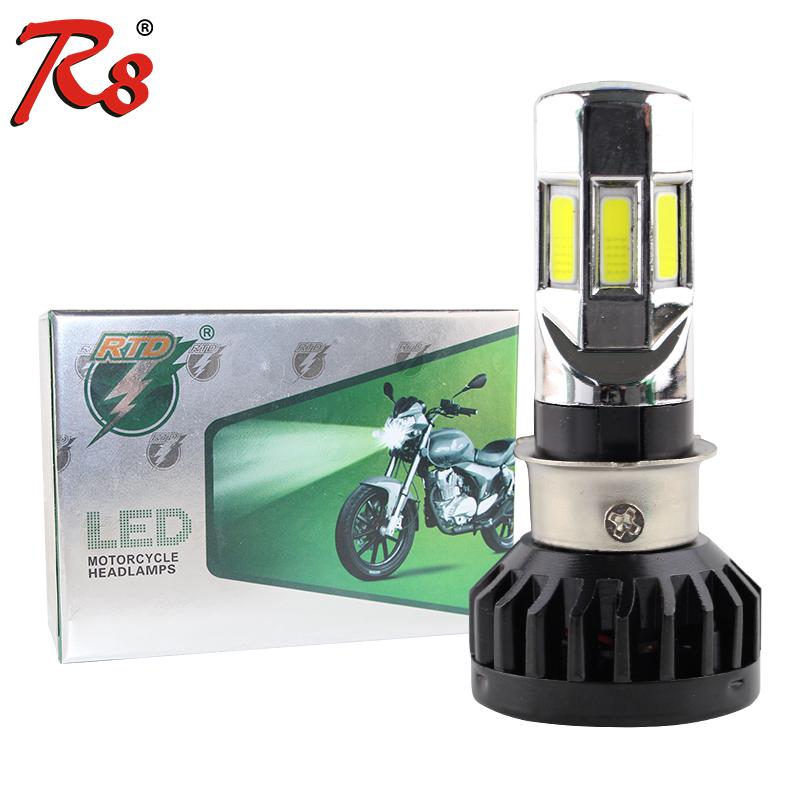 Rtd AC & DC Universal Type Motorcycle <font><b>LED</b></font> <font><b>Headlight</b></font> Bulb M02E H4 <font><b>HS1</b></font> BA20D P15D H6 3500LM 35W For All Motorbike 6COB 6000K image