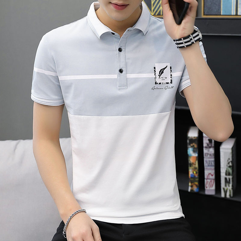 2019 Summer Short Sleeve Polo Shirt Men Turn Down Collar Streetwear Fashion Men's Polo Shirts Korean Style Polos Slim Fit Top