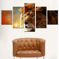 Yellow Starry Sky Cool Lion Head Fashion Canvas Art Wall For Room Decor Oil Painting High