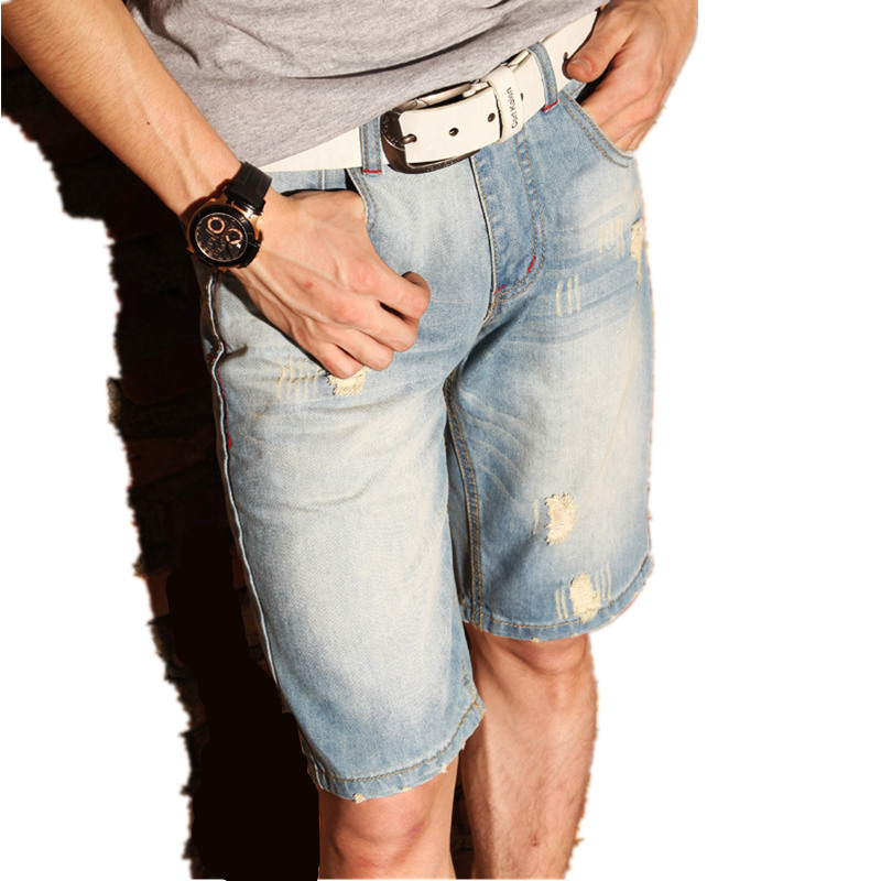 2017 fashion summer men's jeans burst denim pants ripped jeans for men denim shorts hole Korean male trousers plus size MZ1574