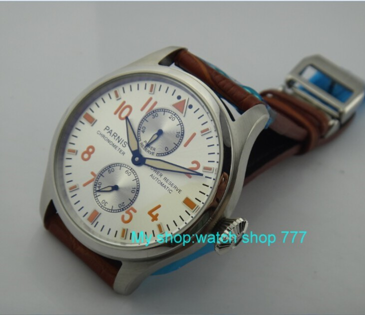 47mm  PARNIS  Automatic Self-Wind mechanical movement Power Reserve Mechanical watches Mens watches  wholesale ooo147mm  PARNIS  Automatic Self-Wind mechanical movement Power Reserve Mechanical watches Mens watches  wholesale ooo1