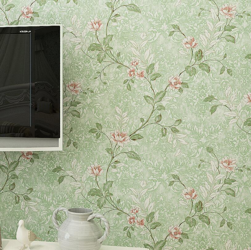 NºD Romantique Pastorale Fleur Nontissé Papier PeintVintage Art - Papier peint romantique chambre