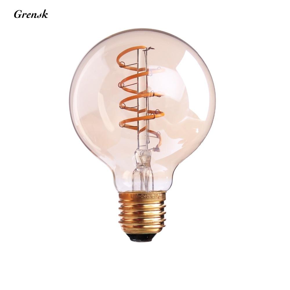 Spiral Filament LED,Edison G80 Globe Bulb,3W,Amber Glass ...