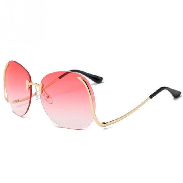 NUEVA Llegada de Gran Tamaño de la Ronda gafas de Sol Sin Montura Moda  Mujer Verano 777da3dfdd11