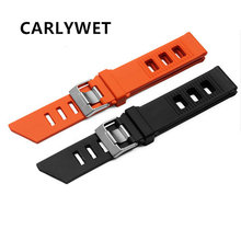 цена CARLYWET 20mm Men Women Waterproof Orange Black Silicone Rubber Straight End Wrist Watch Band Strap Silver Brushed Pin Buckle онлайн в 2017 году