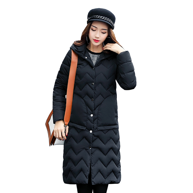 Winter Coat Women 2017 New Slim Fashion Cotton-padded Jacket Size Plus size Outerwear Parka Long Thick Wadded Clothing 4L00 new winter women down cotton jacket long thick women coat padded fashion warm coat outerwear hood over coat slim coat jacket