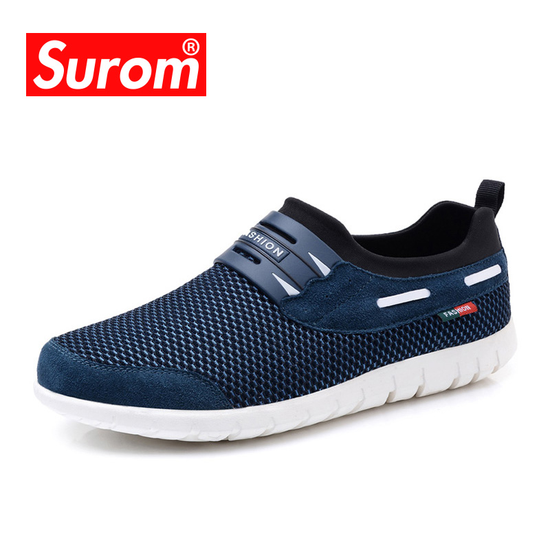SUROM 2018 Summer Hot Sale Boat Shoes Men Sneakers Breathable Mesh Loafers Men Casual Shoes Krasovki Comfortable Soft Male Shoes branded men s penny loafes casual men s full grain leather emboss crocodile boat shoes slip on breathable moccasin driving shoes