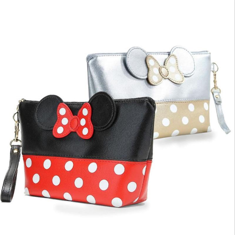 Cartoon Bow Travel Cosmetic Bag Makeup Case Women Zipper Hand Holding Make Up Handbag Organizer Storage Pouch Wash Toiletry Bags