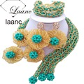 Brand Laanc 18inches Costume Women Necklaces African Gold Glass Beeds and Green Turquoise Crystal Jewelry Sets AL146