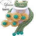 Marca Laanc 18 pulgadas Traje Mujeres Collares de Oro Africano Vidrio Beeds y Sistemas de La Joyería de Cristal Verde Turquesa AL146