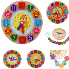 Kids Wooden Puzzle Toys Tangram Cognitive Digital Clock Digital Wood Watch Jigsaw Toys Education Cartoon Threading Assembly Toys