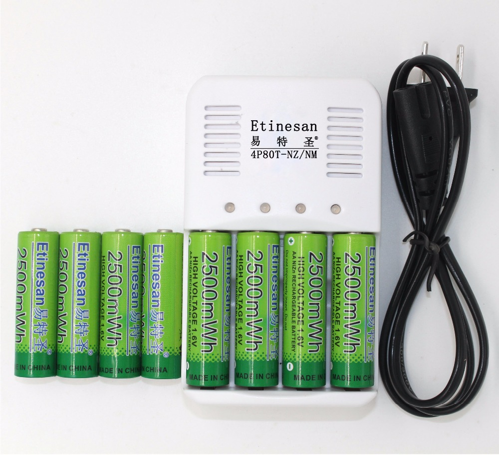 8 pcs Etinesan 2500mWh NiZn 1 6V AA Rechargeable Battery batteries 4 ports Ni Zn NiMH