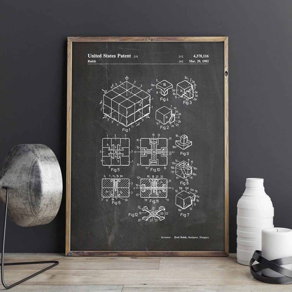 Rubik's Cube patent, Gaming wall art, posters, room decor, vintage print, blauwdruk, idee, games wanddecoraties