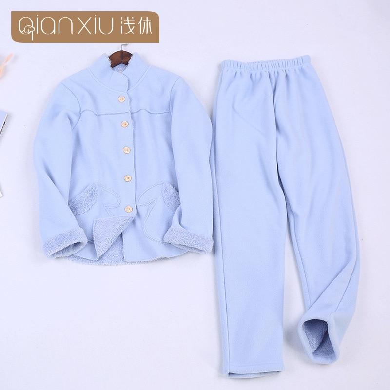 2018 Winter hot koop Vrouwen flanel Thicken warme Pyjama Set Staande kraag Nachtkleding Pak lichtblauw Pyjama casual homewear