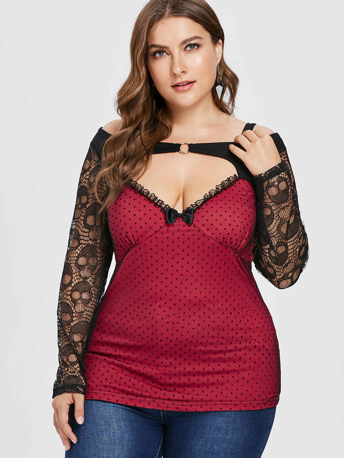 7ce2360982a Wipalo Plus Size 5XL Halloween Skulls Lace Sheer Sleeve Mesh Casual T-Shirt  Sexy Plunging