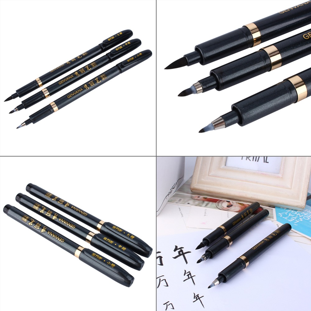 3pcs Set Chinese Japanese Calligraphy Brush Pen Writing