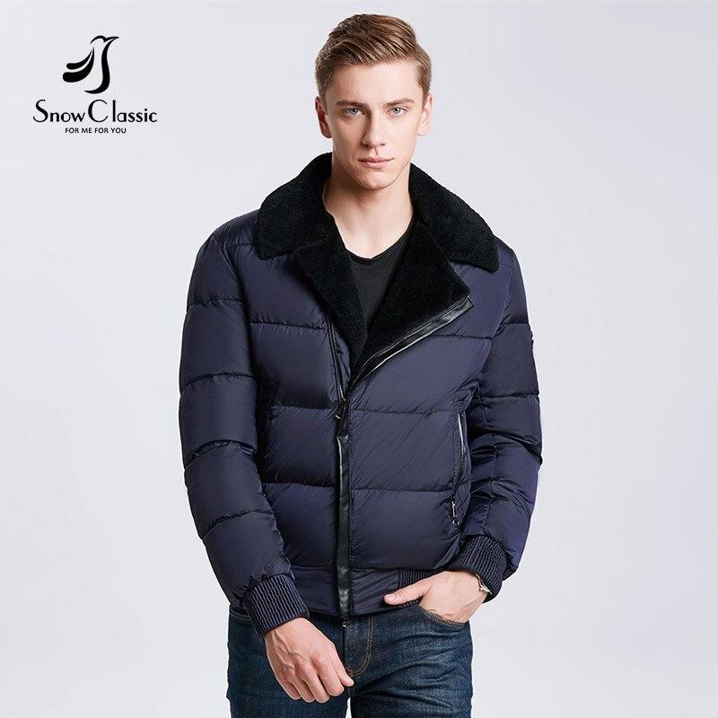 Snowclass2018 modelli invernali uomini di modo del risvolto caldo business casual colletto della giacca di cotone di marea di tendenza Europea di decorazione della pelle dei capelli