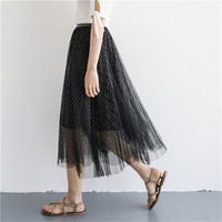 2018 Summer 3 Layers Mesh Tulle Midi Women Skirts Striped Printed Casual Pleated Staight Black Mid Calf Skater Longa Saias S8524