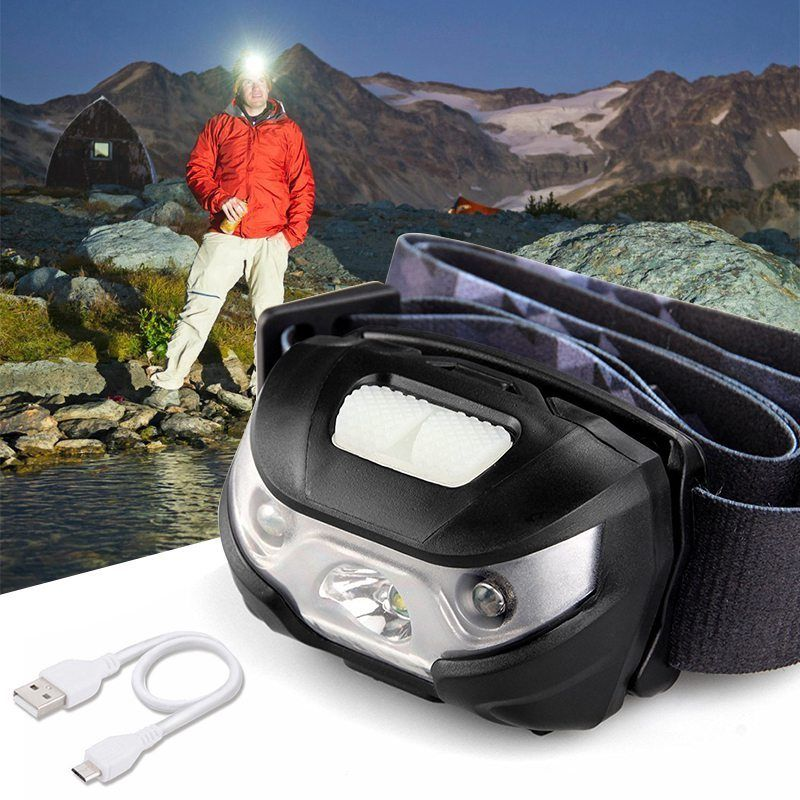 Super Bright LED Headlight with 1200mAh Rechargeable Battery flashlight Head Torch Lamp CREE Camping Induction Headlamp powerful 30w headlight super bright head lamp rechargeable headlamp waterproof led headlight for huting fishing camping